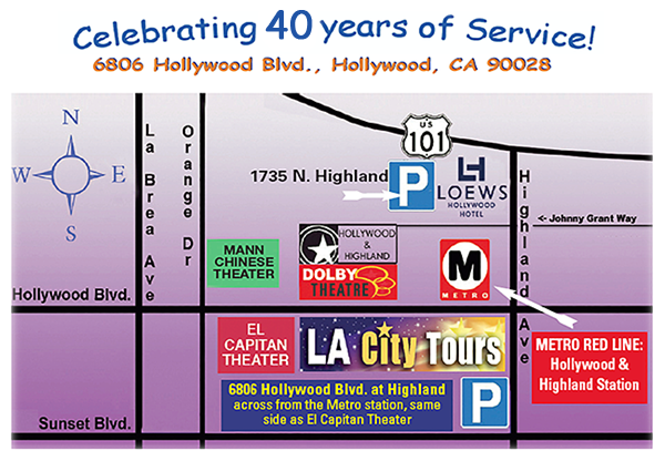 Directions to LA City Tours and Tour Meeting Points